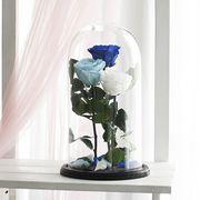 Синея, белая, и голубая роза в колбе, композиция трио
