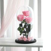 Розовые розы в колбе, композиция трио