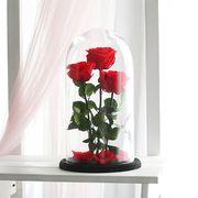 Красные розы в колбе, композиция трио